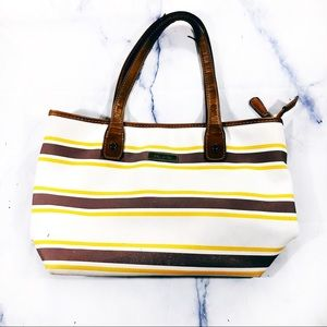 Marc Fisher White Brown Yellow Striped Tote Bag